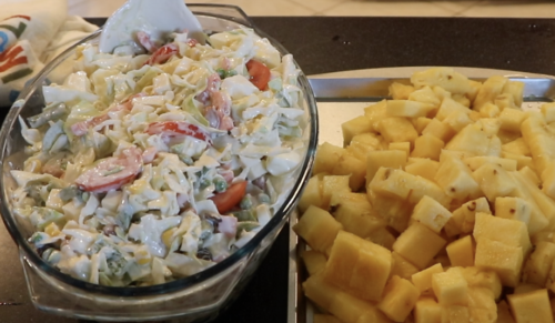 Cabbage and Egg Salad WITH Side Pineapple Fruit: Fast Simple and Delicious